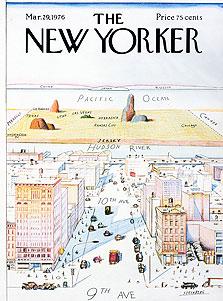 """אחד השערים הידועים של """"הניו יורקר"""", מ־1976 - ניו יורק כמרכז העולם. איור של סול סטיינברג"""
