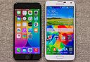 מימין: גלקסי S5, אייפון 6, צילום: phoneArena