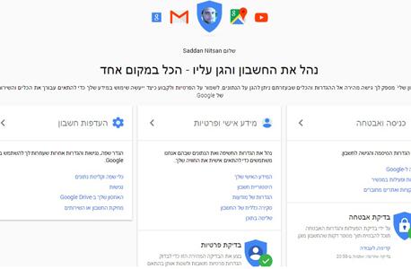 פרטיות בדיקת אבטחה גוגל My Account