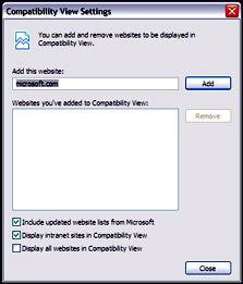 """הגדרות """"מצב התאימות"""" של אינטרנט אקספלורר 8"""