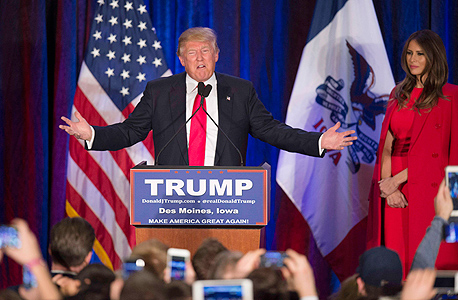 דונלד טראמפ ב פריימריז ב איווה, צילום: איי אף פי