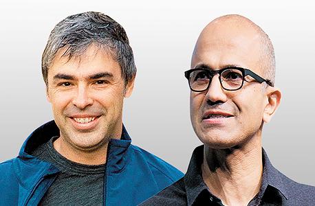 """מימין ל מנכ""""ל מיקרוסופט סאטיה נאדלה ומייסד גוגל לארי פייג', צילום: בלומברג"""