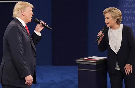 הילרי קלינטון ודונלד טראמפ ב עימות ה שני, צילום: אי פי איי