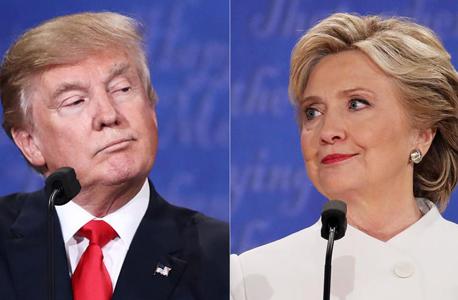 """הילרי קלינטון דונלד טראמפ בחירות ארה""""ב עימות לאס וגאס 2016 , צילום: גטי אימג'ס"""