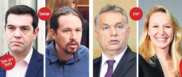 """הטראמפיזם הוא גם משמאל וגם מימין: מריון לה פן מצרפת (מימין); ויקטור אורבן, ר""""מ הונגריה; פבלו איגלסיאס מספרד; ואלכסיס ציפראס, ר""""מ יוון. """"לימין יש הגדרות יותר פוגעניות של מי שייך לאומה, אבל בבסיסו של דבר מדובר בפוליטיקה של הלווים מול המלווים"""""""