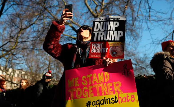 הפגנה נגד דונלד טראמפ ב לונדון, צילומים: גטי אימג'ס