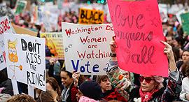 הפגנה נגד דונלד טראמפ ב וושינגטון, צילומים: איי פי