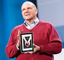 באלמר עם הטאבלט של HP. מנסה להקדים את אפל, צילום: בלומברג