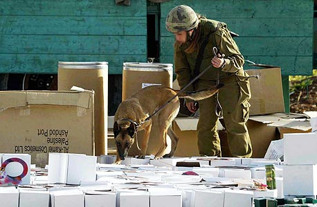 חיילת בודקת סחורה על משאית פלסטינית במחסום ליד שכם