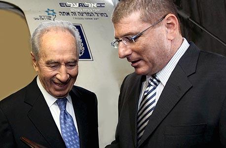 אליעזר שקדי ושמעון פרס, צילום: סיון פרג