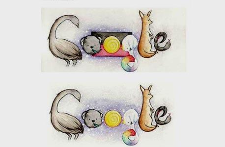 האיור שנועד ללוגו גוגל לכבוד יום אוסטרליה. לפני (למעלה) ואחרי