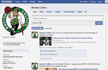 דף הפייסבוק של בוסטון סלטיקס. היום החשיפה התקשורתית האינסופית איננה בהכרח מקדמת מוצר או מחזקת מותג