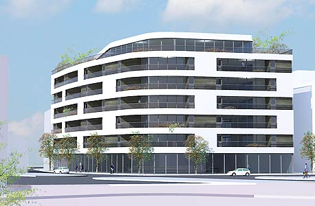 לבונטין לופט 30, תל אביב. קומה מסחרית עם חנויות אופנה ומעליה 5 קומות למגורים