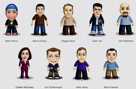 דמויות המשחק שעיצבו לעצמם קאזיר לי, מייסד זינגה מארק פינקוס וסגנית נשיא החברה קולין מקררי