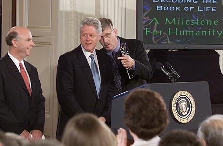 """עם ביל קלינטון ופרנסיס קולינס מפרויקט הגנום הממשלתי. """"הוא היטלר"""" אמרו המתחרים על וינטר"""