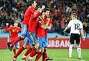הספרדים חוגגים את הניצחון אמש, צילום: אי פי אי