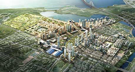 """הדמיה של העיר המושלמת """"סונגדו"""", שנבנית בימים אלה בדרום קוריאה"""