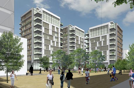 הדמיית הפרויקט המתוכנן למתחם שוק העלייה. 20% מכל פרויקט חדש יוקצה לדיור בר השגה