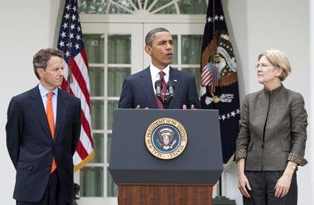 ברק אובמה אליזבת וורן טימותי גייתנר , צילום: בלומברג