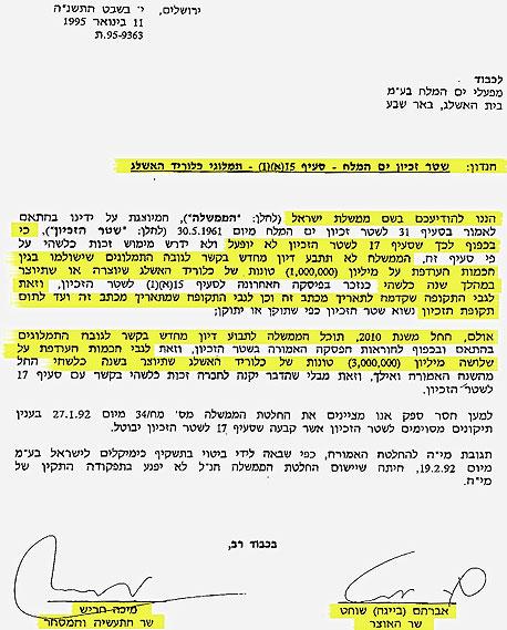 המכתב מ-1995 בו ויתרה המדינה על התמלוגים העודפים מכיל