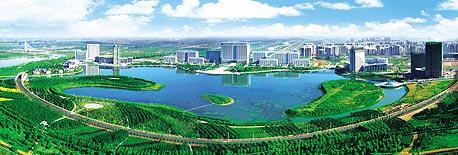 הדמיה של העיר האקולוגית טיה לינג. אגם שמטהר שפכים
