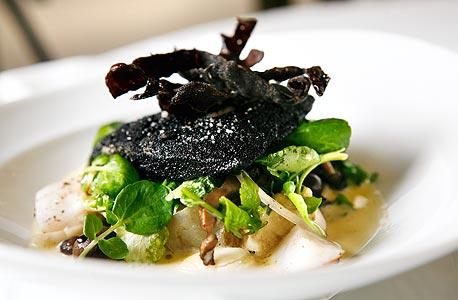 בר אטלנטי אפוי בחמאת פטריות בר, מסעדת כתית, תל אביב (210 שקל)