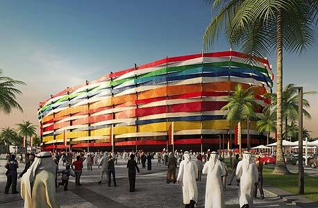 הדמיית אצטדיון אל גאראפה בקטאר שיהיה מוכן למונדיאל 2022. בחודש האחרון התקבל התיקון לחוק 13 משנת 2008 העוסק בתמיכה של אנשי עסקים בפעילויות ספורט, ולפיו 2.5% מהרווחים הנקיים של אנשי העסקים המקומיים יוקדשו לתמיכה בפעילויות ספורט וחברה