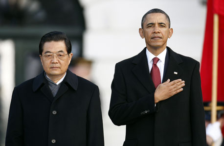 הנשיא ברק אובמה נשיא סין הו ג'ינטאו Hu Jintao, צילום: בלומברג