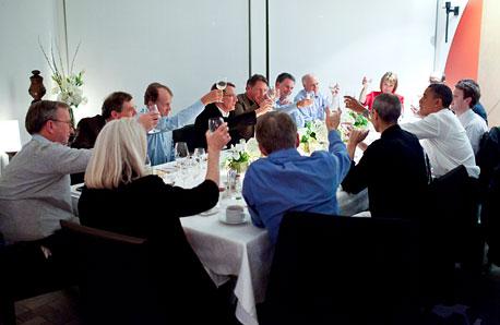 ברק אובמה סטיב ג'ובס אריק שמידט צוקרברג, צילום: בלומברג