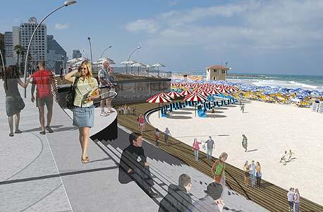 הדמיה של החלופה המתוכננת לטיילת החוף המרכזי בתל אביב