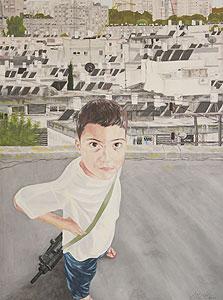 """ציור של יריב גבע ב""""צבע טרי"""" 2011"""