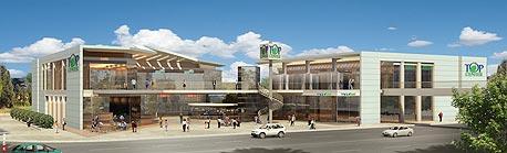 הדמיית המרכז המסחרי שתקים בוני התיכון בשכונה הירוקה בכפר סבא