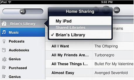 Home Sharing דרך האייפד