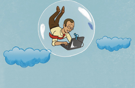A caricature of a tech worker in a bubble. Illustration: Racheli Shalev