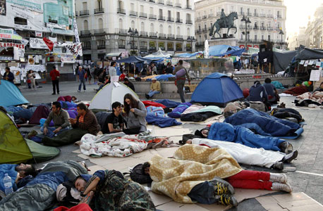 מאהל המחאה בכיכר פוארטה דל סול, מדריד