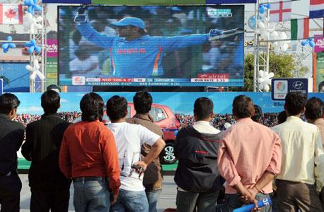 הודים צופים באליפות העולם בקריקט