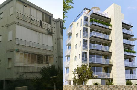 """בניין ברחוב עציון ברמת גן המיועד לתמ""""א 38. לפני ואחרי, צילום: אחדות פרוייקטים"""