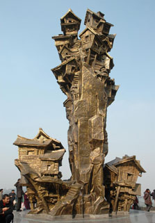 פסל חוצות ברוח בתי צ'ונגצ'ינג העתיקים