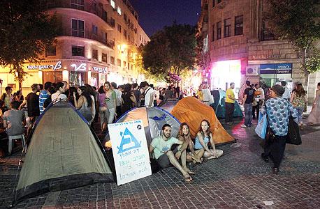 אוהלים ירושלים הפגנה מפגינים כיכר ככר ציון מחירי דיור שכירות, צילום: עמית שאבי