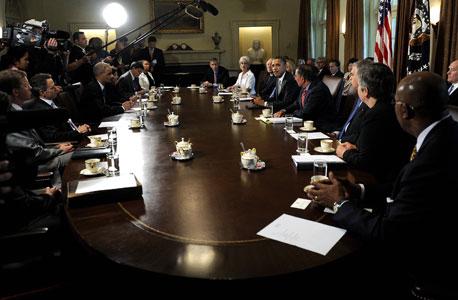 מוסף קפיטליזם ישיבה ישיבת קבינט ברק אובמה, צילום: אי פי אי