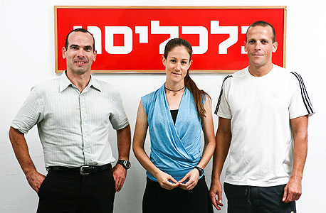 (מימין) יובל חץ מאיגוד הטריאתלון, דגנית מקא מאיגוד האופניים והראל נחמני מעמותת ישראל בשביל האופניים, צילום: תומי הרפז