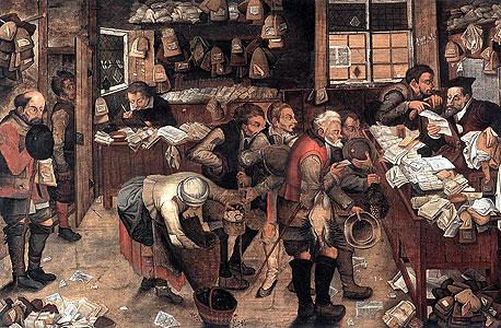 """""""גובי המסים"""", פיטר ברויגל הבן (מוזיאון USC Fisher בקליפורניה). מה עשיתם כדי להיות שנואים כל כך?"""