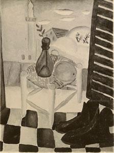 """עבודה שנעלמה. """"טבע דומם עם נעליים"""", 1924 בקירוב"""