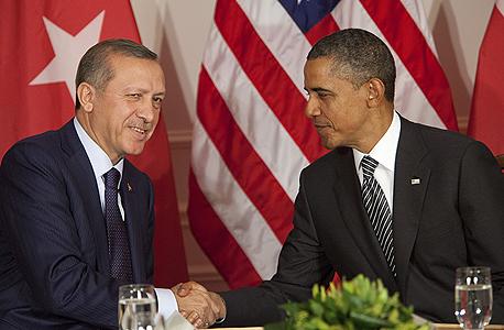 """הנשיא ברק אובמה ראש ממשלת טורקיה ארדואן באו""""ם, צילום: בלומברג"""