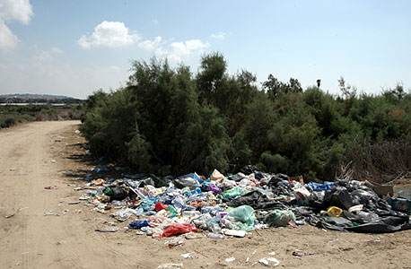 ערימות פסולת בחוף נחשולים