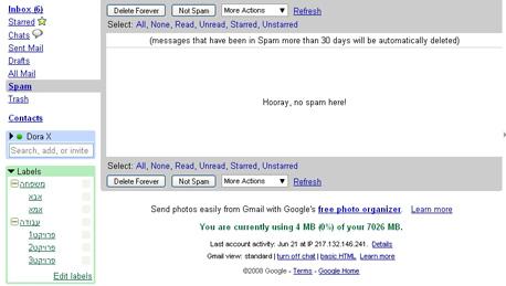 היררכיה של תגיות. Folders4Gmail