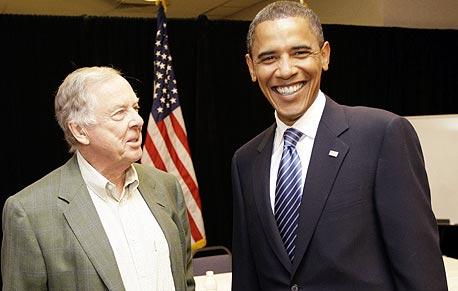 ברק אובמה ו טי בון פיקנס, צילום: איי פי