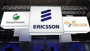 שלט של אריקסון במסגרת תערוכת מובייל, צילום: בלומברג