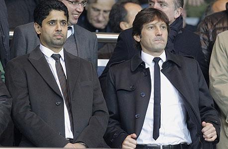 נאסר אל-חאליפי, נשיא מועדון פריז סן ז'רמן (משמאל) וליאונרדו, המנהל הספורטיבי