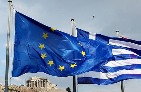 דגלי יוון והאיחוד האירופי